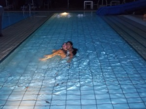 Laughing in the pool at the Hollandse Club, 1st Night